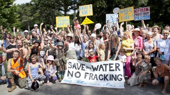 Anti-fracking protest at Balcomb. Image from the Guardian.