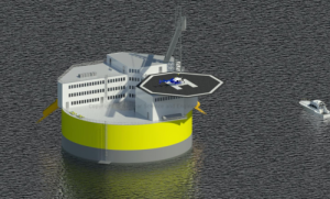This illustration shows a possible configuration of a floating offshore nuclear plant, based on design work by Jacopo Buongiorno and others at MIT's Department of Nuclear Science and Engineering. Like offshore oil drilling platforms, the structure would include living quarters and a helipad for transportation to the site. Credit: Jake Jurewicz/MIT-NSE